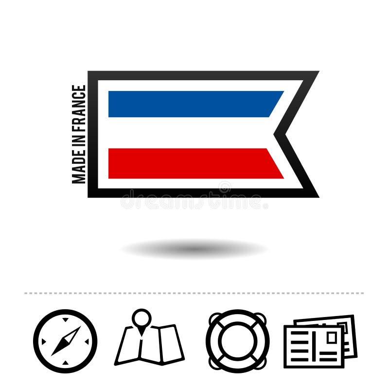 Fatto in bandiera della Francia con le icone di viaggio Vettore Eps10 illustrazione di stock