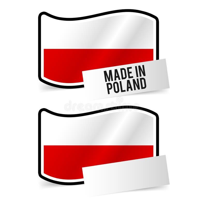 Fatto in bandiera della Polonia e carta vuota bianca illustrazione di stock