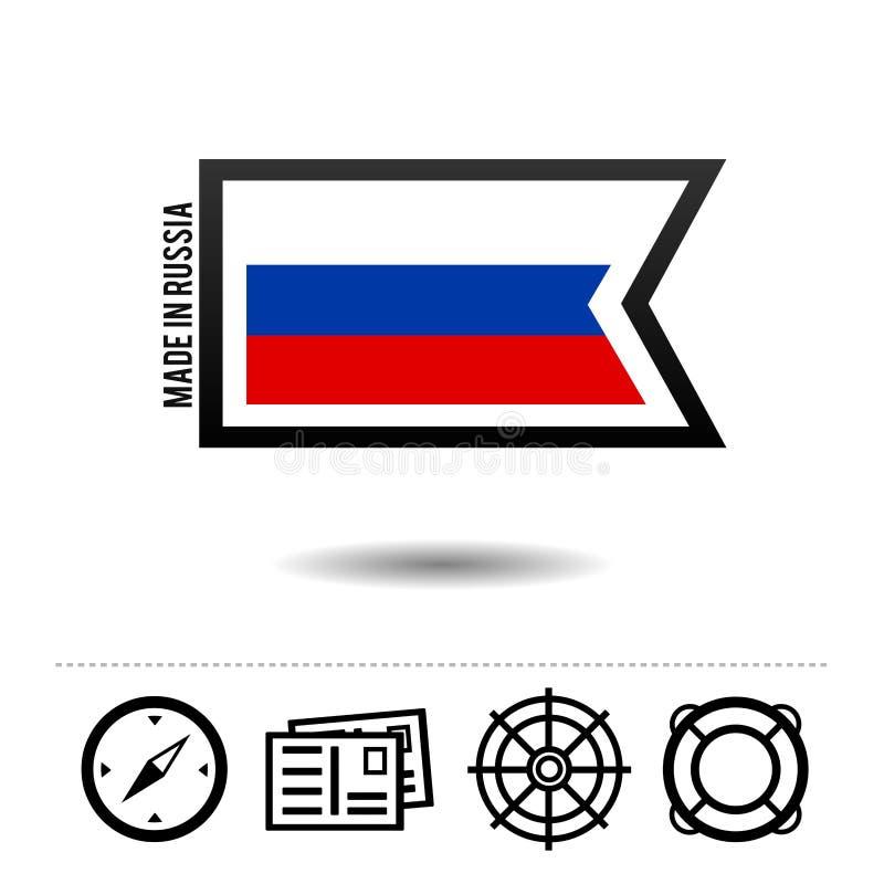 Fatto in bandiera della Russia con le icone di viaggio Vettore Eps10 illustrazione vettoriale