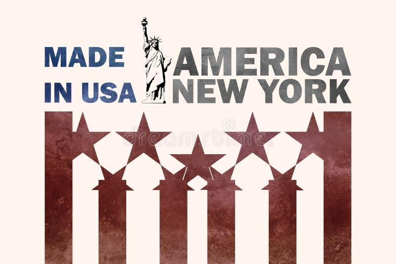 Fatto in manifesto di U.S.A. con testo e la statua della libertà su fondo stilizzato fotografia stock libera da diritti