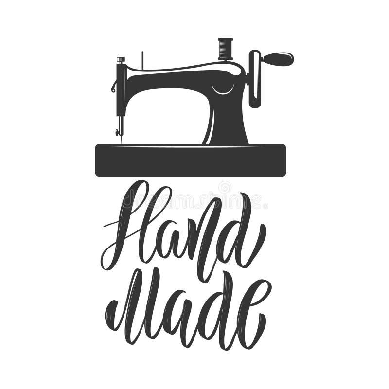 Fatto a mano Modello dell'emblema con la macchina per cucire Progetti l'elemento per il logo, l'etichetta, l'emblema, il segno, d illustrazione di stock