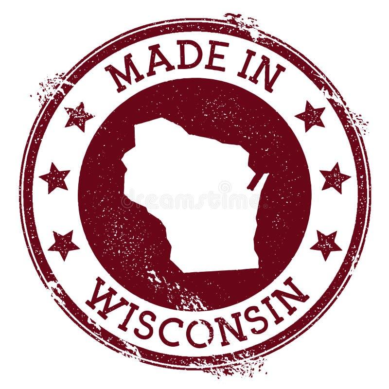 Fatto nel bollo di Wisconsin illustrazione vettoriale