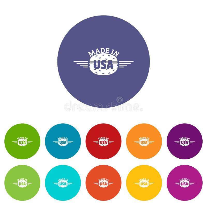 Fatto nel colore di vettore fissato icone di U.S.A. royalty illustrazione gratis