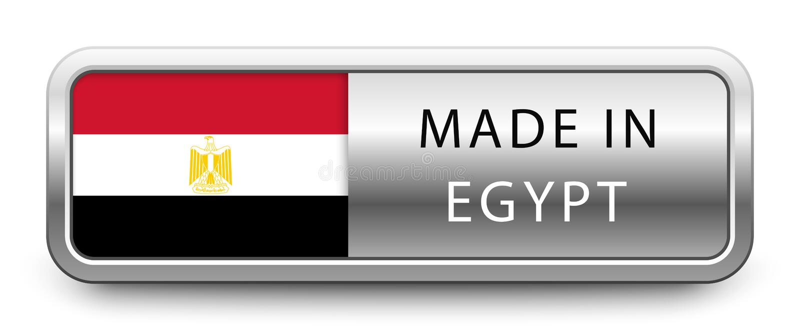 FATTO nel distintivo metallico dell'EGITTO con la bandiera nazionale isolata su fondo bianco illustrazione vettoriale