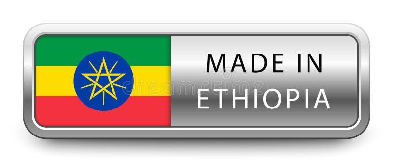 FATTO nel distintivo metallico dell'ETIOPIA con la bandiera nazionale isolata su fondo bianco illustrazione vettoriale