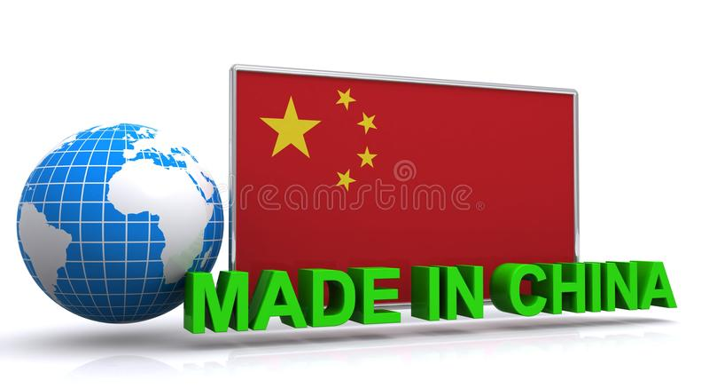 Fatto nel grafico della Cina con la bandiera e la terra illustrazione vettoriale
