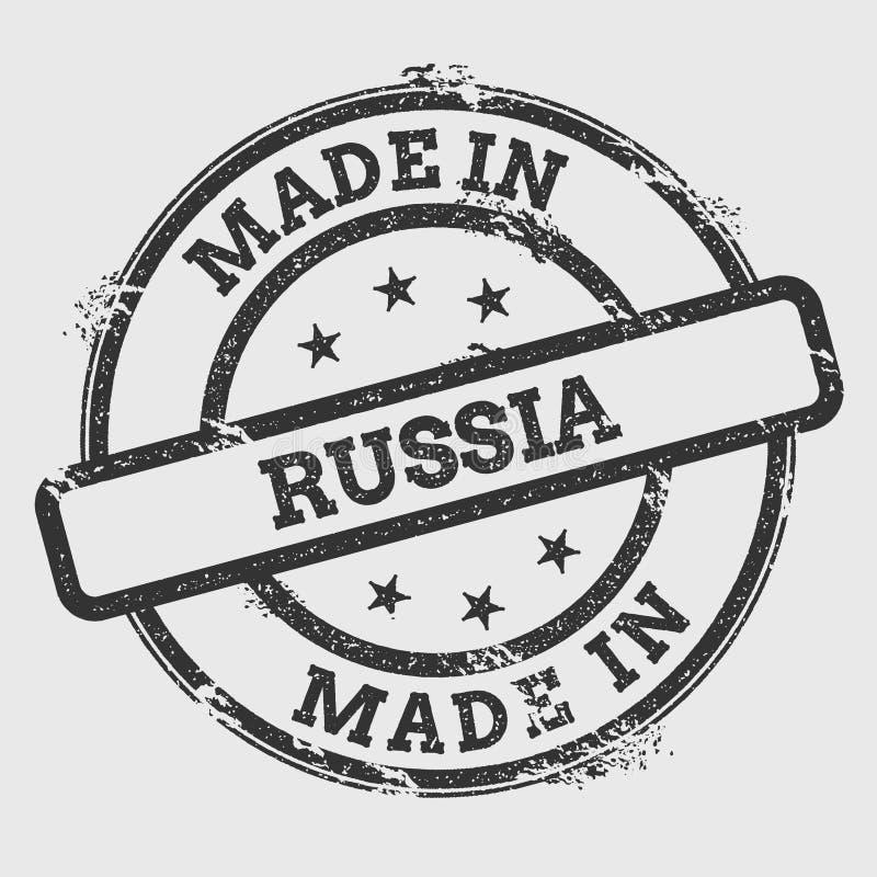 Fatto nel timbro di gomma della Russia isolato su bianco illustrazione di stock