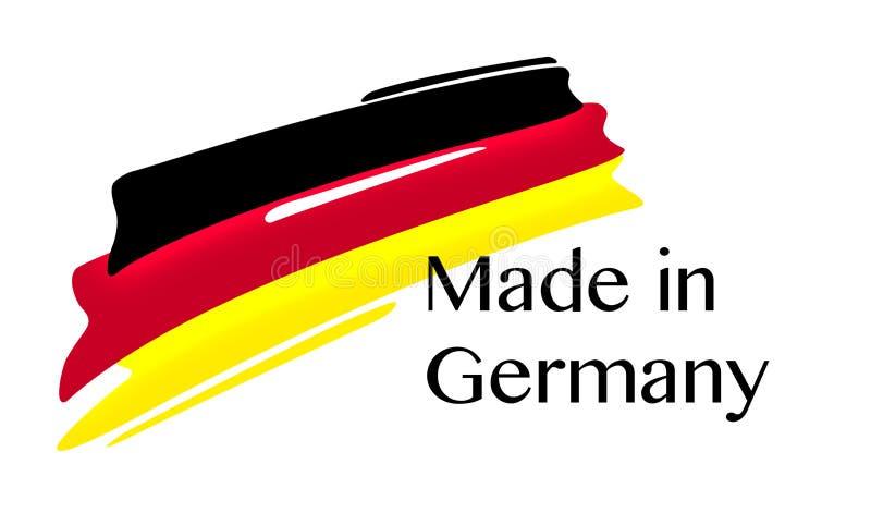 Fatto nell'etichetta della Germania con la bandiera tedesca illustrazione di stock