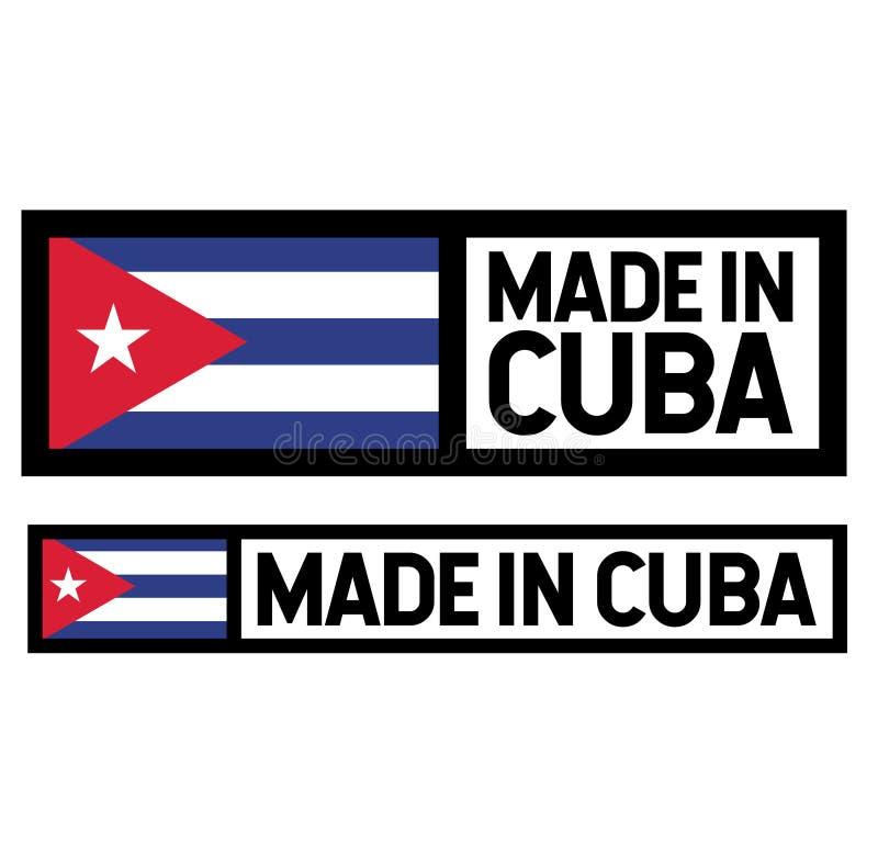 Fatto nell'etichetta di Cuba su bianco royalty illustrazione gratis