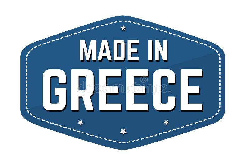 Fatto nell'etichetta o nell'autoadesivo della Grecia illustrazione vettoriale