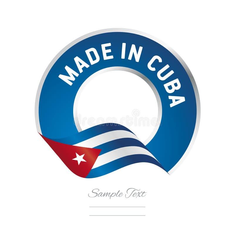 Fatto nell'icona blu di logo dell'etichetta di colore della bandiera di Cuba royalty illustrazione gratis