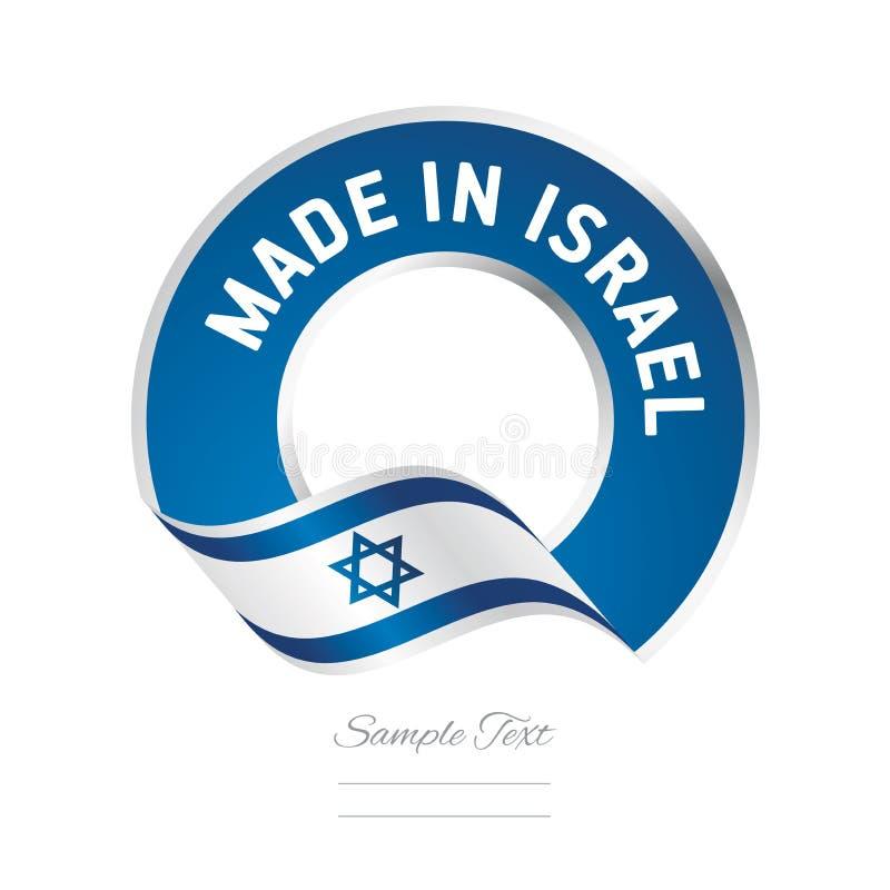 Fatto nell'icona blu di logo dell'etichetta di colore della bandiera di Israele illustrazione di stock