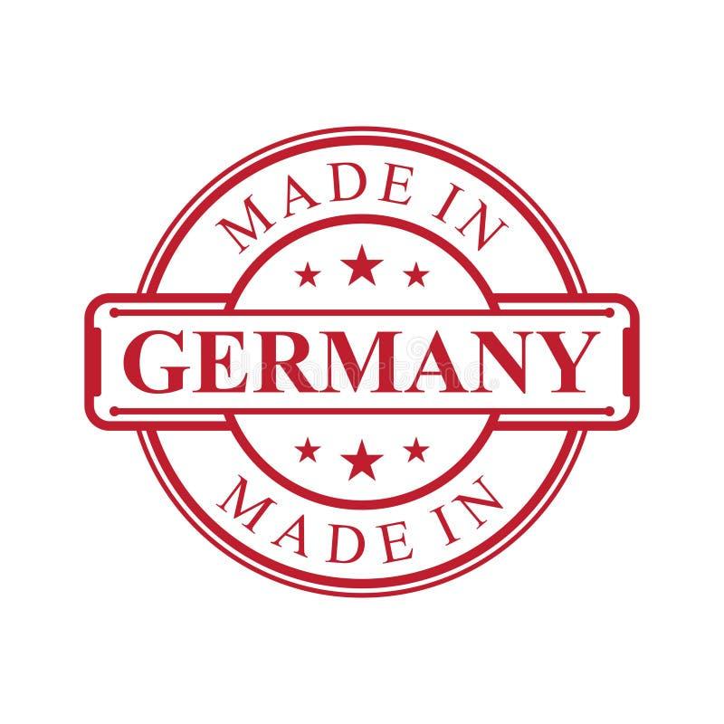 Fatto nell'icona dell'etichetta della Germania con l'emblema di colore rosso sui precedenti bianchi illustrazione vettoriale