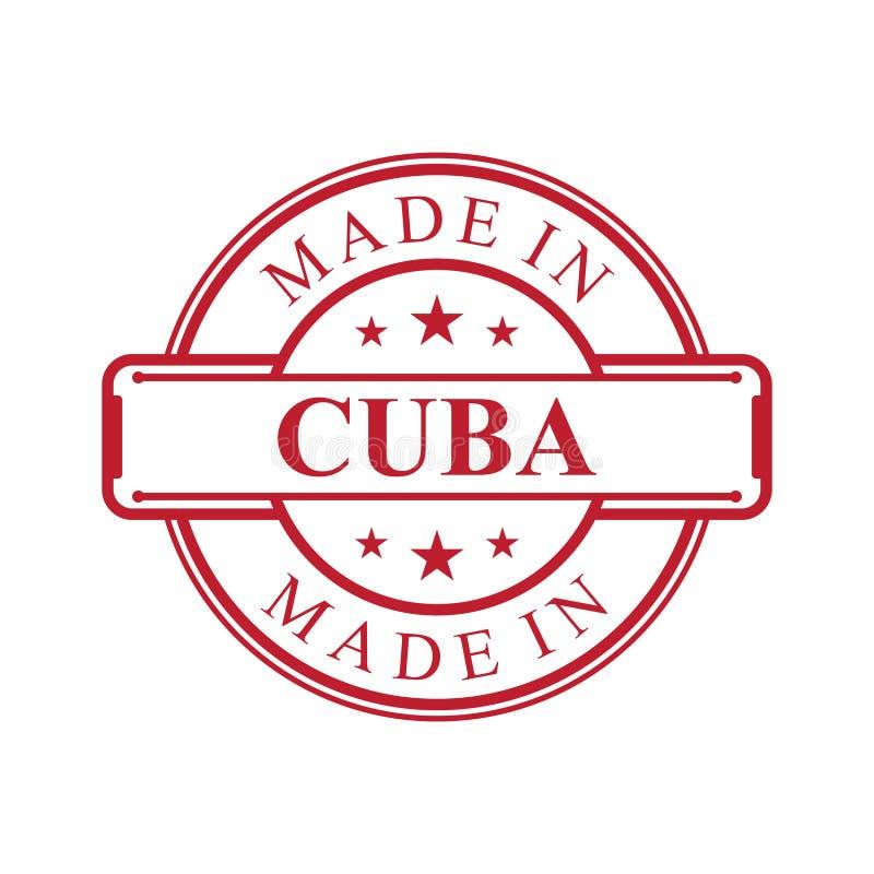 Fatto nell'icona dell'etichetta di Cuba con l'emblema di colore rosso sui precedenti bianchi illustrazione vettoriale