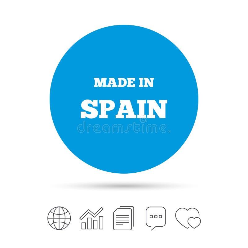 Fatto nell'icona della Spagna Simbolo di produzione dell'esportazione illustrazione di stock