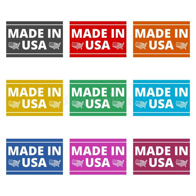 Fatto nell'icona di U.S.A., icona semplice di vettore, icone di colore messe illustrazione di stock