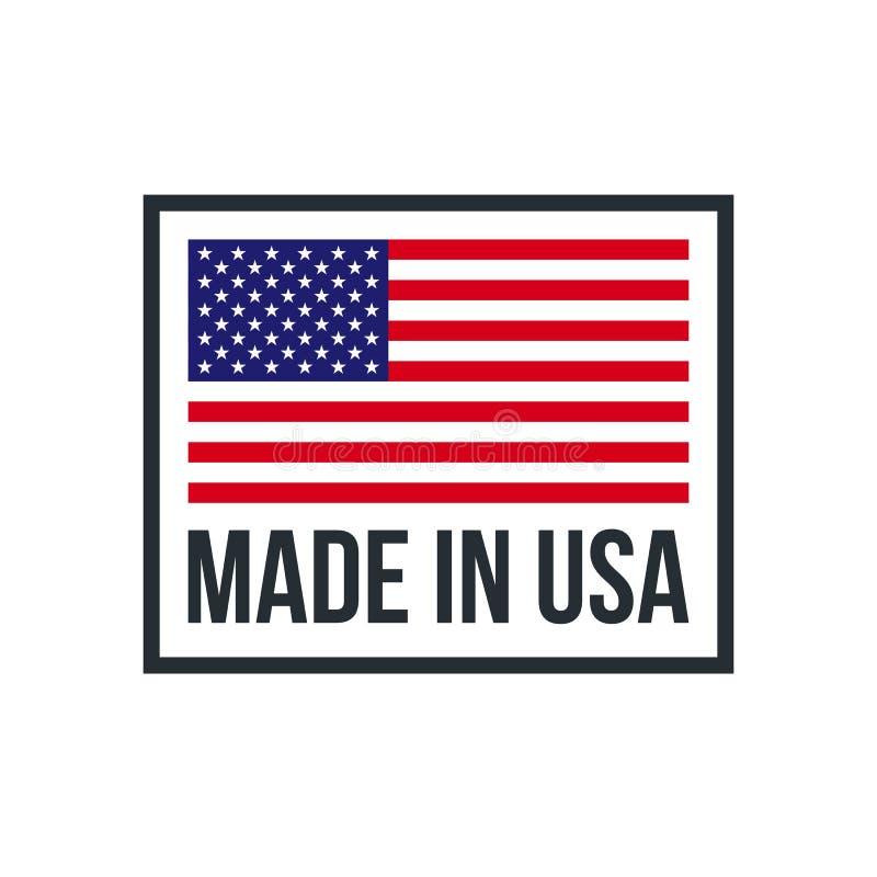 Fatto nell'icona premio della bandiera americana di qualità di U.S.A. illustrazione di stock