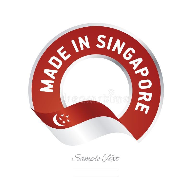 Fatto nell'insegna del bottone dell'etichetta di colore rosso della bandiera di Singapore illustrazione vettoriale
