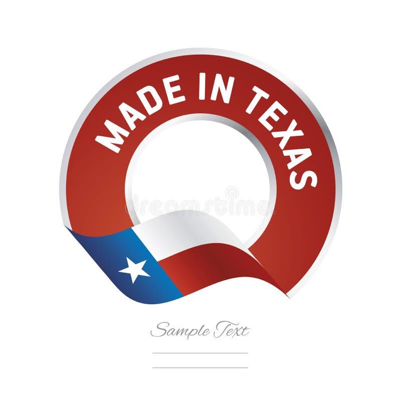Fatto nell'insegna del bottone dell'etichetta di colore rosso della bandiera del Texas illustrazione vettoriale