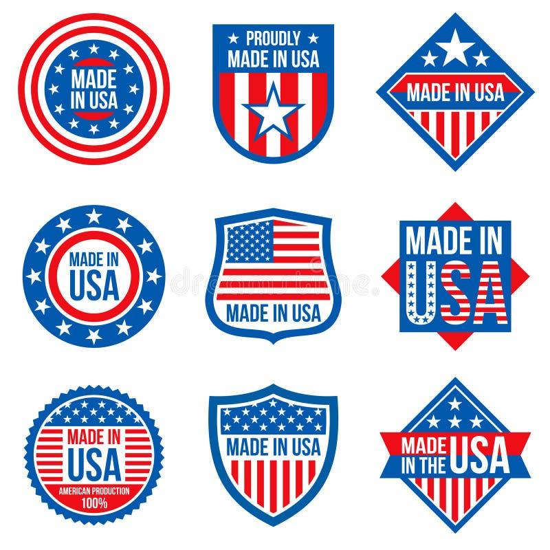 Fatto nelle etichette di vettore degli S.U.A. Autoadesivi americani di fabbricazione royalty illustrazione gratis