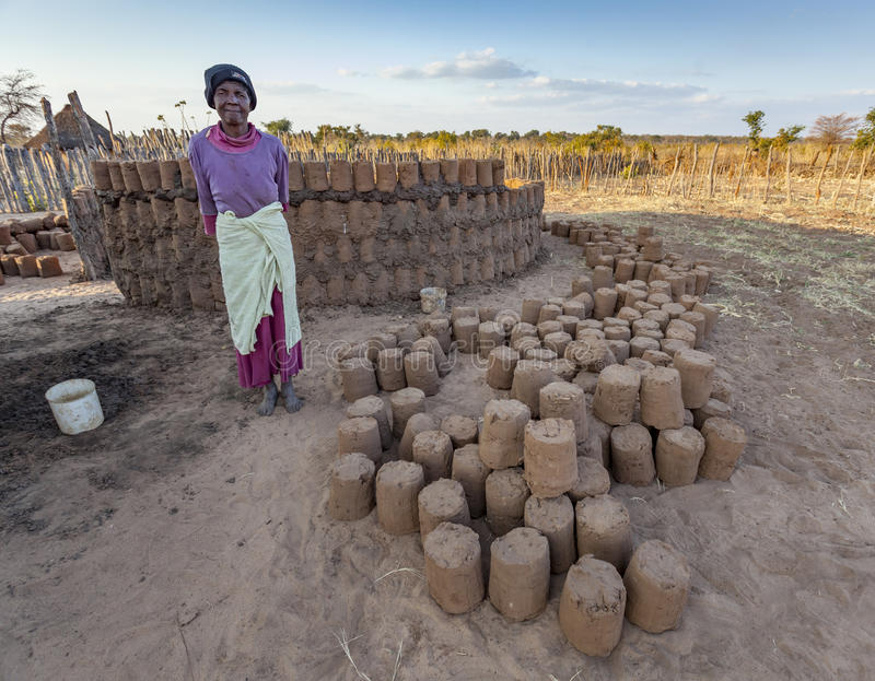 Fattoria africana della costruzione di signora immagini stock libere da diritti