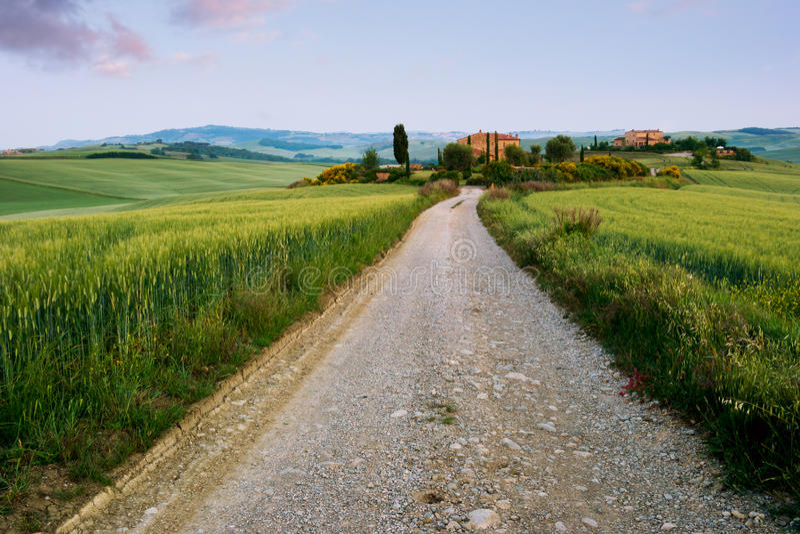 Fattoria toscana tipica in Italia fotografia stock libera da diritti