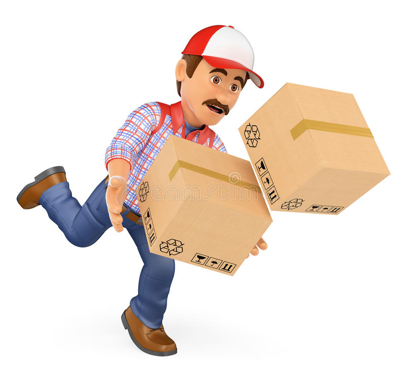 fattorino 3D che cade con le scatole Infortunio sul lavoro illustrazione di stock
