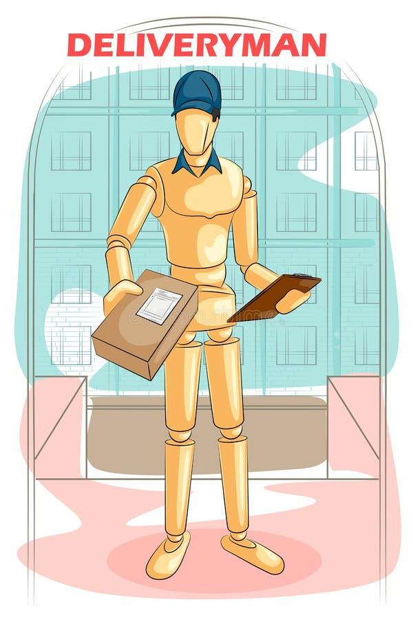 Fattorino umano di legno del manichino illustrazione di stock
