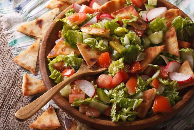 Fattoush沙拉用皮塔饼面包和菜关闭  horizont 免版税库存图片