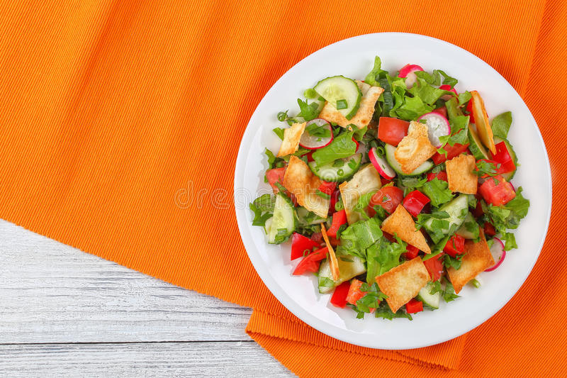 Download Fattoush Or Bread Salad With Pita Stock Photo