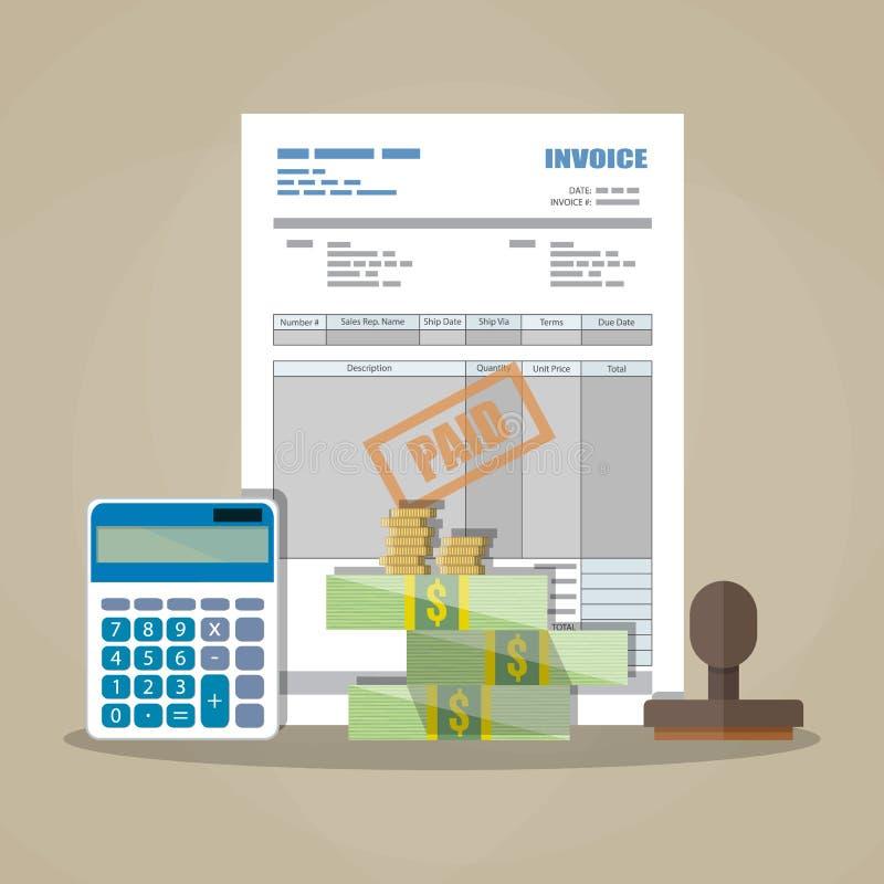 Fattura di carta, bollo pagato, calcolatore, denaro contante illustrazione vettoriale