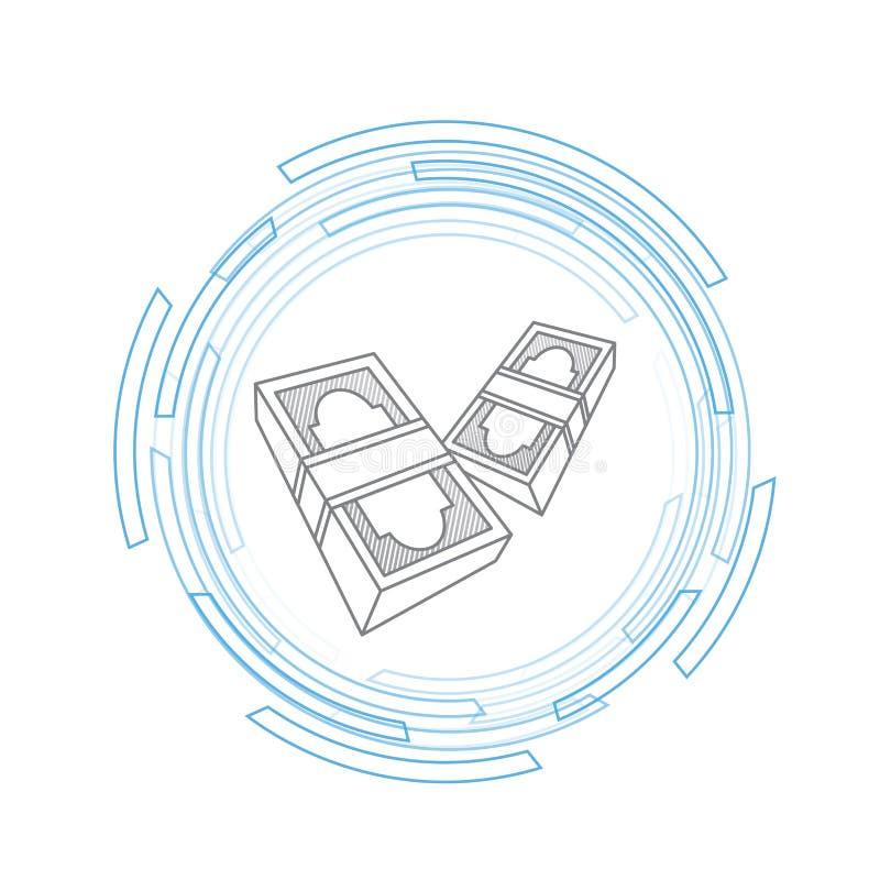 fatture che volano attraverso lo spazio digitale illustrazione di stock