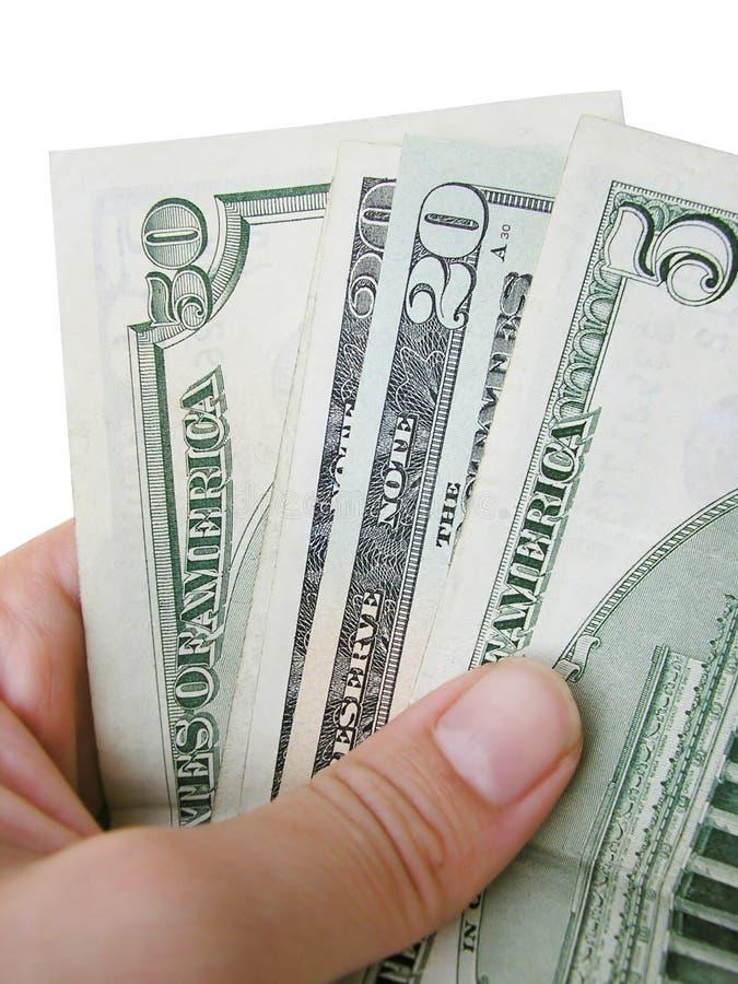 Fatture del dollaro della holding della mano immagine stock libera da diritti