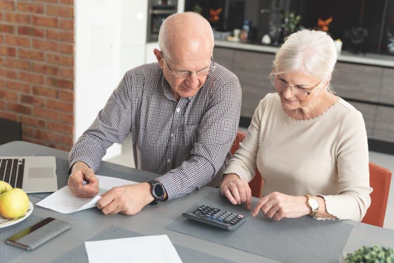 Fatture di pagamento senior delle coppie insieme sul computer portatile immagine stock libera da diritti