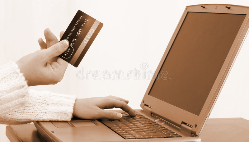 Fatture in linea di pagamento o di acquisto fotografie stock libere da diritti