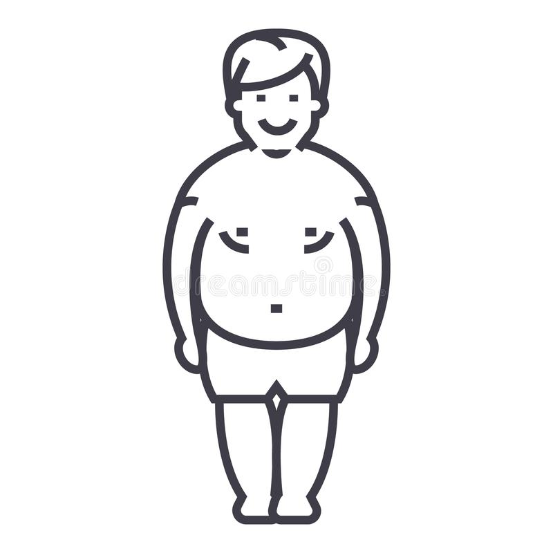 Fatty man,fat guy vector line icon, sign, illustration on background, editable strokes royalty free illustration