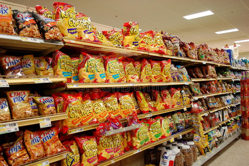 Fatty Snacks in the Supermarket royalty free stock photography