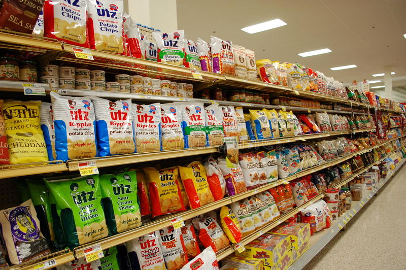 Fatty Snacks in the Supermarket royalty free stock photo