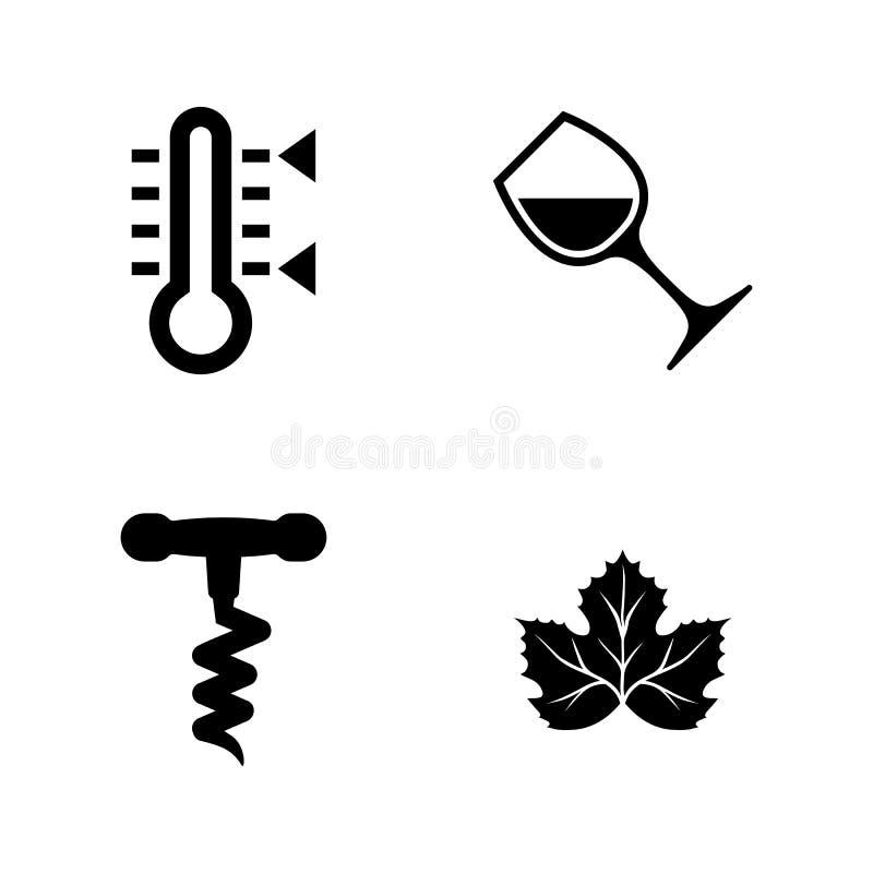 Fatura de vinho, Winemaking Ícones relacionados simples do vetor ilustração royalty free