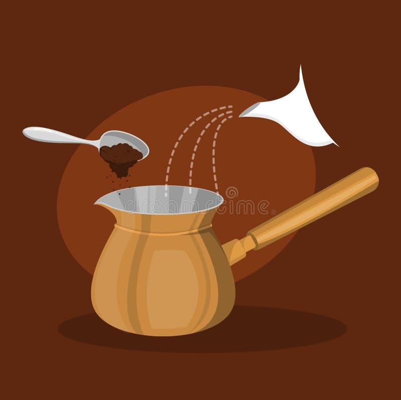 Fatura do café turco Bebida saboroso quente da fabricação de cerveja ilustração stock