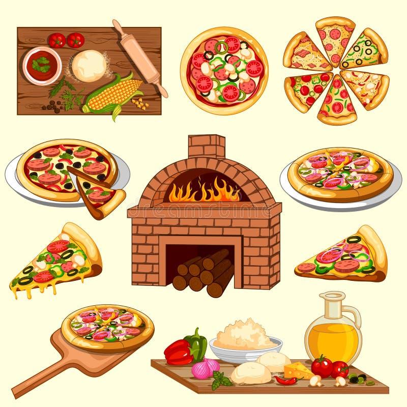 Fatura e ingrediente da pizza com forno do cozimento ilustração do vetor