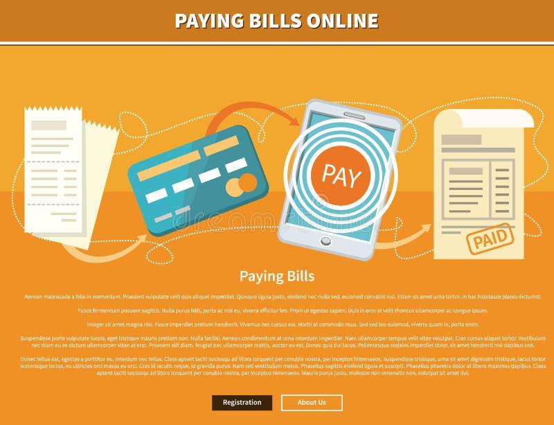 Faturas pagamento em linha ilustração stock