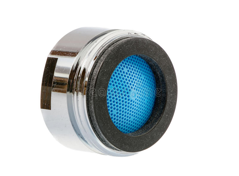 Faucet Aerator. Isolated faucet aerator for saving water stock photos