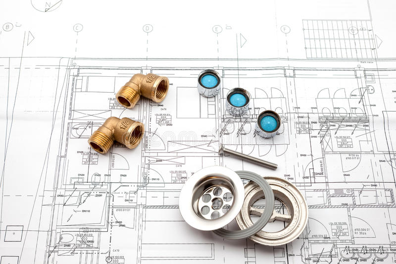 Faucet aerator and plan. On an household plan is an cypine traps and beam breakers royalty free stock images