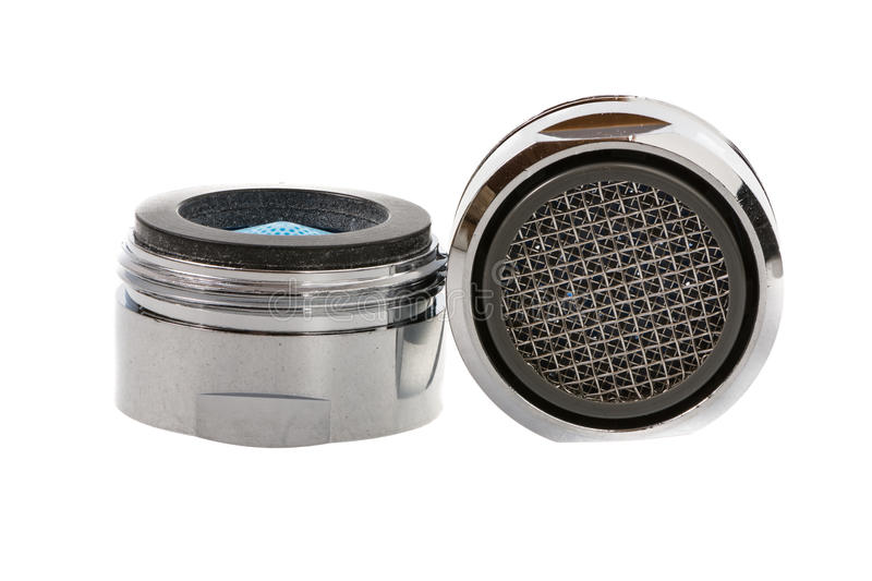 Faucet Aerators. Two Isolated faucet aerators for saving water stock image