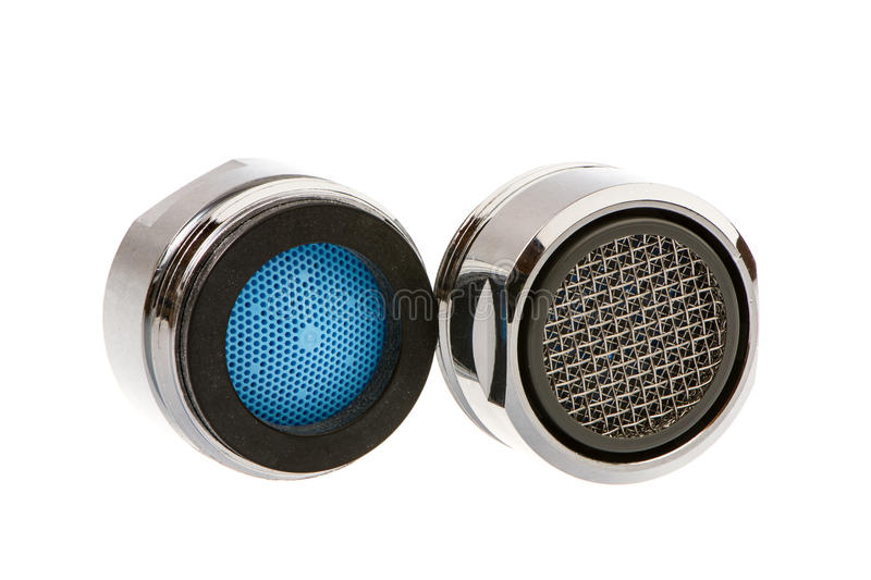 Faucet Aerators. Two Isolated faucet aerators for saving water stock images