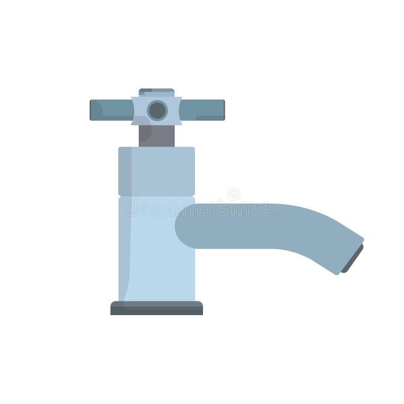 Faucet bocznego widoku symbolu wyposażenia wodnego klepnięcia wektoru ikona Gospodarstwo domowe łazienki zlew błękitnej drymby od royalty ilustracja