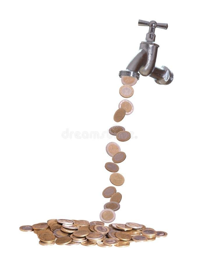 Faucet był europejskim walutą opuszcza out fotografia stock