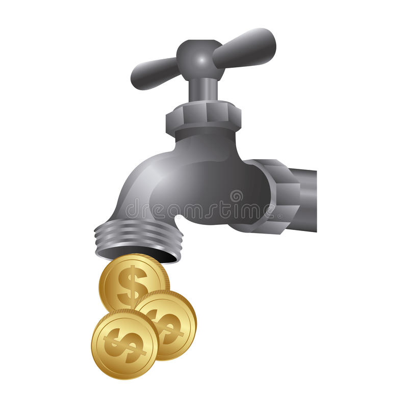 Faucet with coins save water. Illustration design vector illustration