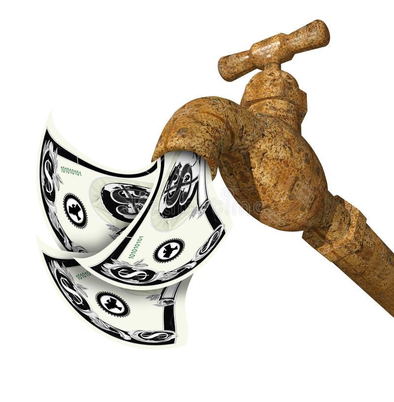 Faucet com o dinheiro que flui para fora ilustração do vetor